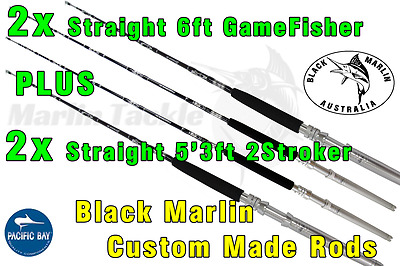 4x Set of BMA 24kg Standup Game Fishing Rods 2x 6ft Straight 2x 5'3ft Straight