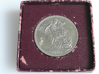 Festival Of Britain Issue 1951 Five Shilling Coin Of George VI - Burgandy Boxed