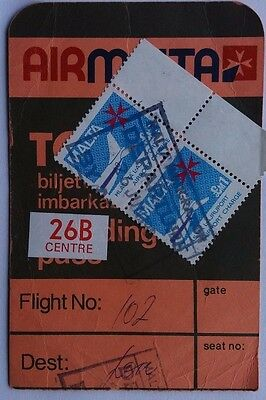 1980 Air Malta Boarding Pass With 2 X £1 Airport Charge Labels