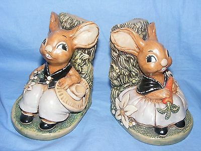 Pendelfin Stoneware Rabbit Bookends Burnley England Very Collectable Rare