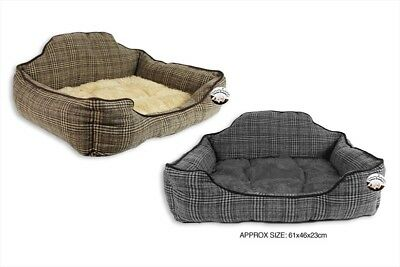 Dog Bed Pet Cushion Armchair Soft Anti Slip Luxury Tweed Fabric High Quality