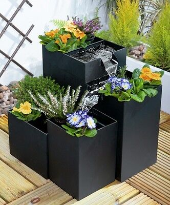 Black Planter Water Feature Self Contained Four Tier Iron Garden Fountain Pot