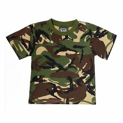 Kas Kids Boys Camouflage T-Shirt - Army - Dpm Woodland Camo 3 - 13 Years Quality