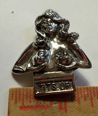 """Vintage """"Tits Up"""" pin collectible old biker boobs vest hat breast pinback"""