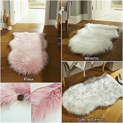 Small Modern Faux Fur Fluffy Soft Silky Pink White Grey Sheep Skin Rug 60X90 Cm