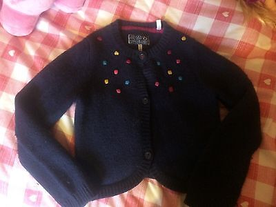 Girls Joules lambs wool and cotton Navy Cardigan 11-12