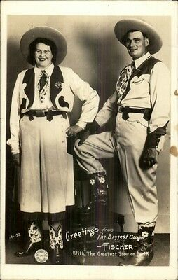 Circus Freaks Giants Biggest Couple in Cowboy Outfits Real Photo Postcard dcn