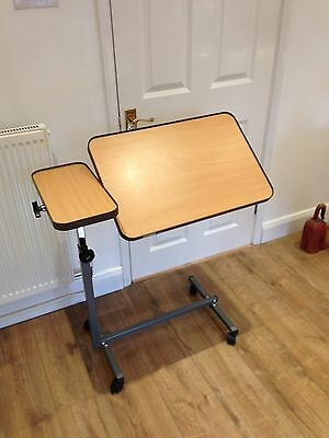 Dual Action Over Bed / Chair Table Adj Height with wheel Locks & Tiltable Top