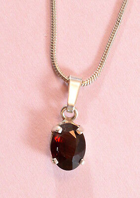 Vintage sterling silver rope chain necklace & ruby/garnet? pendant- 3.2 grams