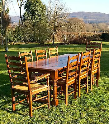 Traditional Antique Style Oak Refectory Dining Table & Eight 8 Oak & Rush Chairs