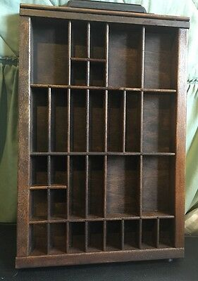 Antique PRINTERS TYPE CASE Or DRAWER Center Section Stained With Handle