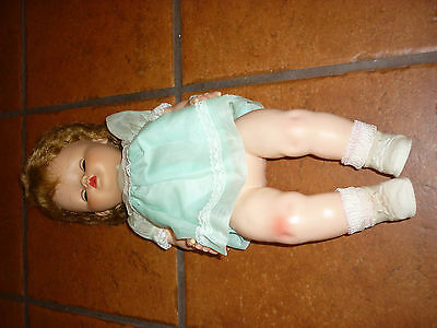 "Vtg Large SUN RUBBER CO BABY GIRL DOLL APPROX 18"" Long  SLEEPING EYES"
