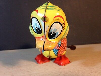 Tin Toy Duck LineMar Marx Wind Up Japan Litho Metal Vintage Key Works Yellow