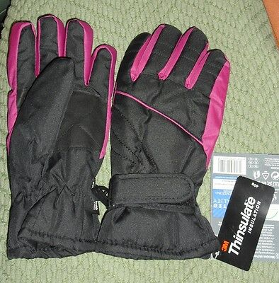 Ski Gloves, size 6.5 girls or small womens, Thinsulate, Pink Black