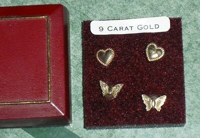9 ct Gold earrings, childs, hearts and butterfly Recycled