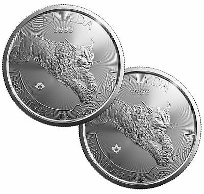 Lot of 2 - 2017 $5 1oz Canadian Silver Lynx Coin .9999 Fine BU