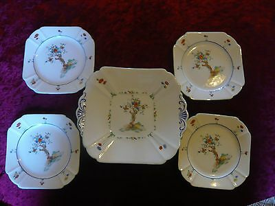 Shelley Queen Anne Crabtree Pattern Tea Plates & serving plate
