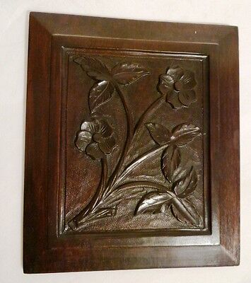 Antique Carved 19thC Wooden Panel Architectural Plaque Floral Art Leaves Flowers