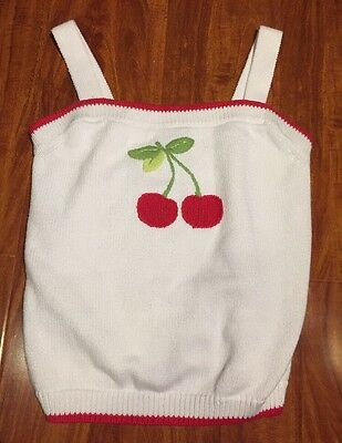 Gymboree Girls Cherry Baby Red & White Sweater Knit Top Shirt Size 12