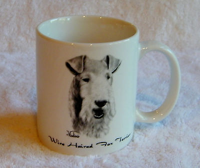 Vladimir Wire Haired Fox Terrier Collectible Porcelain Mug Handpainted NWOT
