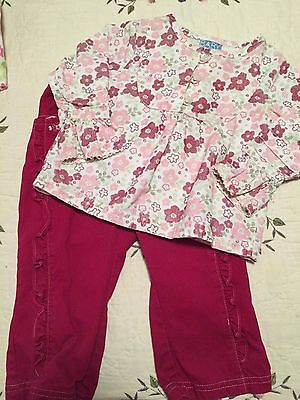 Baby Headquarters 2 Piece Long Sleeve Shirt & Pants Girls 18 months- pink, white