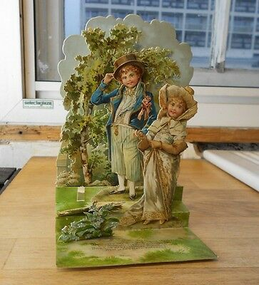 Antique attractive Victorian stand up 3D card Charming Child Couple pop-up