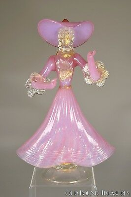 Murano Art Glass Pink Ribbed Optic Dress Southern Belle Figurine W/ Gold Flecks