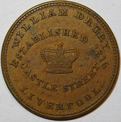 LIVERPOOL WILLIAM DRURY CUTLER IRONMONGER ETC UNOFFICIAL FARTHING Withers 2130