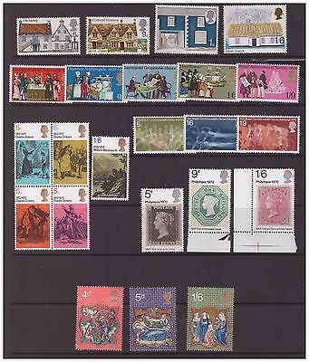 Great Britain GB 1970 selection of 6 sets mint hinged stamps