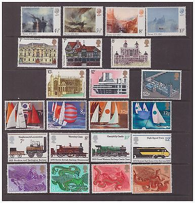 Great Britain GB 1975 selection of 6 sets mint hinged stamps