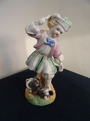 "Antique Continental Ceramic Hand Painted 5"" High Child Cat Escaping Figurine"