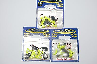 3 packs blakemore road runner 1/8oz chartreuse barbed jig heads red hook