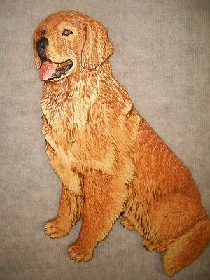 NEW!! Hand Carved GOLDEN RETRIEVER Wall Dog Plaque Chainsaw Wood Carving Wooden