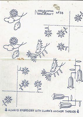 vintage embroidery iron on transfer, hand sewing, needlepoint (S)