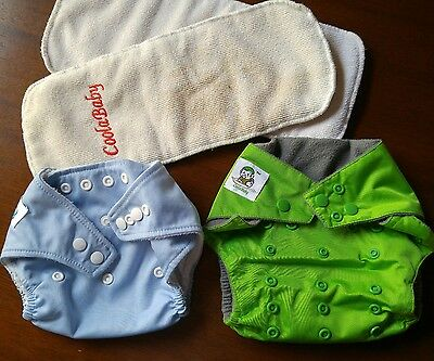Babyland and Coolababy 2 LOT cloth pocket snap diaper one size OS AND 2 inserts