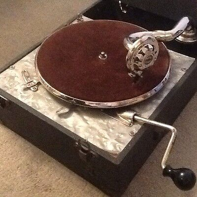 Vintage Maxitone Wind Up Gramaphone Record Player Micro Electric Pick Up