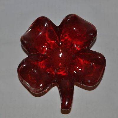 Vintage Cranberry Glass Four Leaf Clover Dish