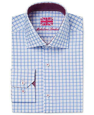 $285 MICHELSONS LONDON Men's SLIM-FIT BLUE WHITE CHECK LONG-SLEEVE DRESS SHIRT M