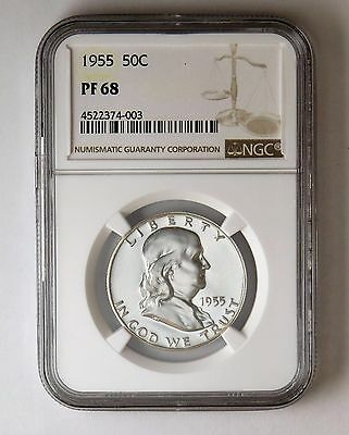 1955 50c Silver Proof Franklin Half Dollar NGC PF 68