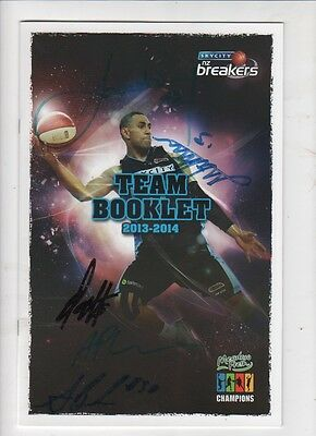 Sky City (Auckland) Breakers Team Booklet 2013/14 with aurographs.