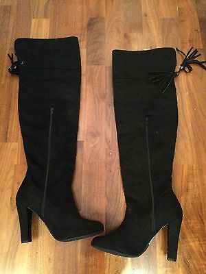 Over knee High leg boots black faux suede uk 6 (new)