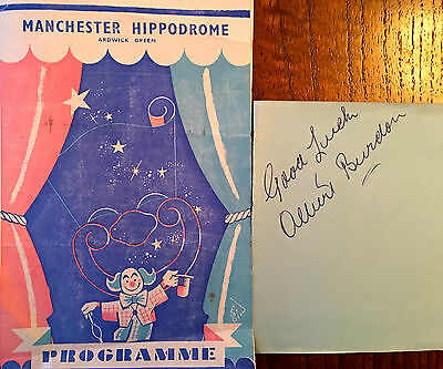 Albert Burdon Film Actor Autograph And Manchester Hippodrome Programme