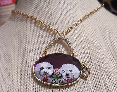 Bichon Frise hand painted  purse crystal pendant necklace