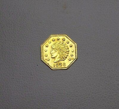 1858 Octagonal  Indian Head Cal GOLD Token ALMOST UNCIRCULATED