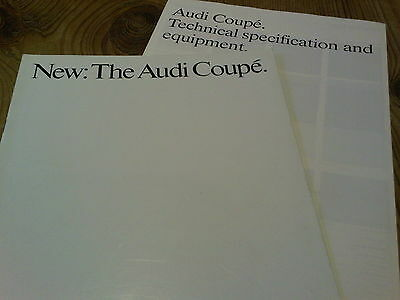 New: The Audi Coupe Brochure 1985 + Technical Specification & Equipment Insert