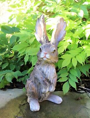 Garden Ornament Grey Rabbit Hare Sculpture indoor outdoor Wood Effect