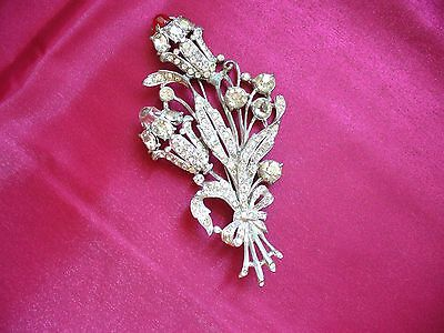Antique Rhinestone/Red Stone Pin Brooch 4 x 2 inches