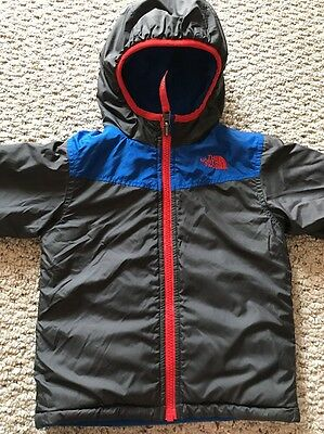 The North Face Blue Gray Red Boys Winter Jacket 2 Side Fleece / Rain Coat Size 2