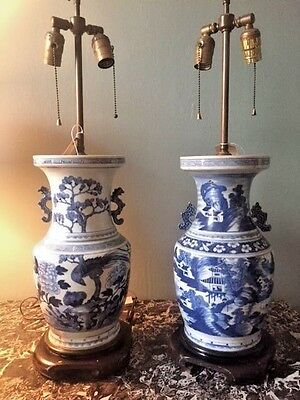 A Pair Of Antique Chinese Blue and White Vase Lamps Hand-Painted Mark Hampton