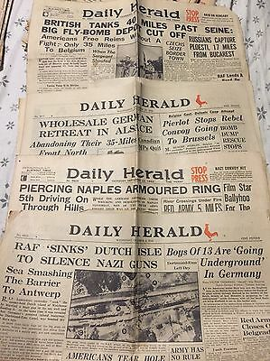 4 Daily Herald Issues 1943 & 1944 WWII WW2 WAR HISTORY COLLECTABLE